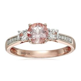 Morganite & White Sapphire Ring with Diamonds