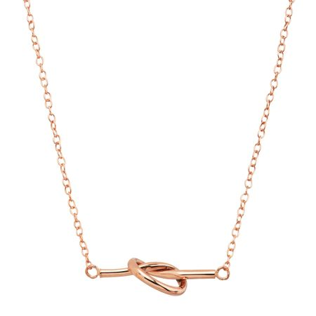 Love Knot Bar Necklace, Pink