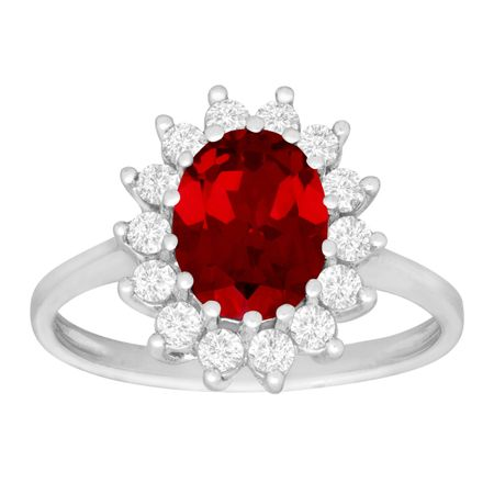 2 7/8 ct Ruby & White Sapphire Ring