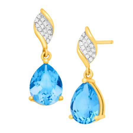 Swiss Blue Topaz Drop Earrings with Diamonds