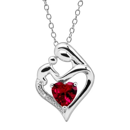 Ruby Mother & Child Pendant with Diamond