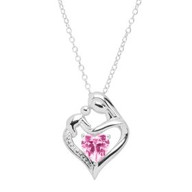 Pink Sapphire Mother & Child Pendant with Diamond