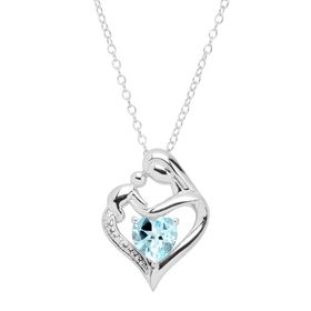 Sky Blue Topaz Mother & Child Pendant with Diamond