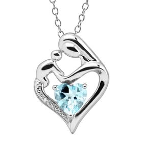 Aquamarine Mother & Child Pendant with Diamond