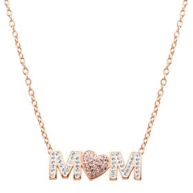 'Mom' Pink Heart Necklace with Swarovski Crystals