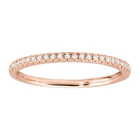1/10 ct Diamond Wedding Band Ring, Rose
