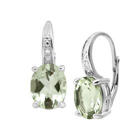 Prasiolite Drop Earrings with Diamonds
