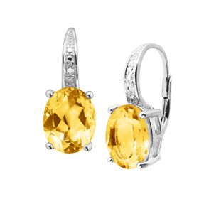 Citrine Drop Earrings with Diamonds