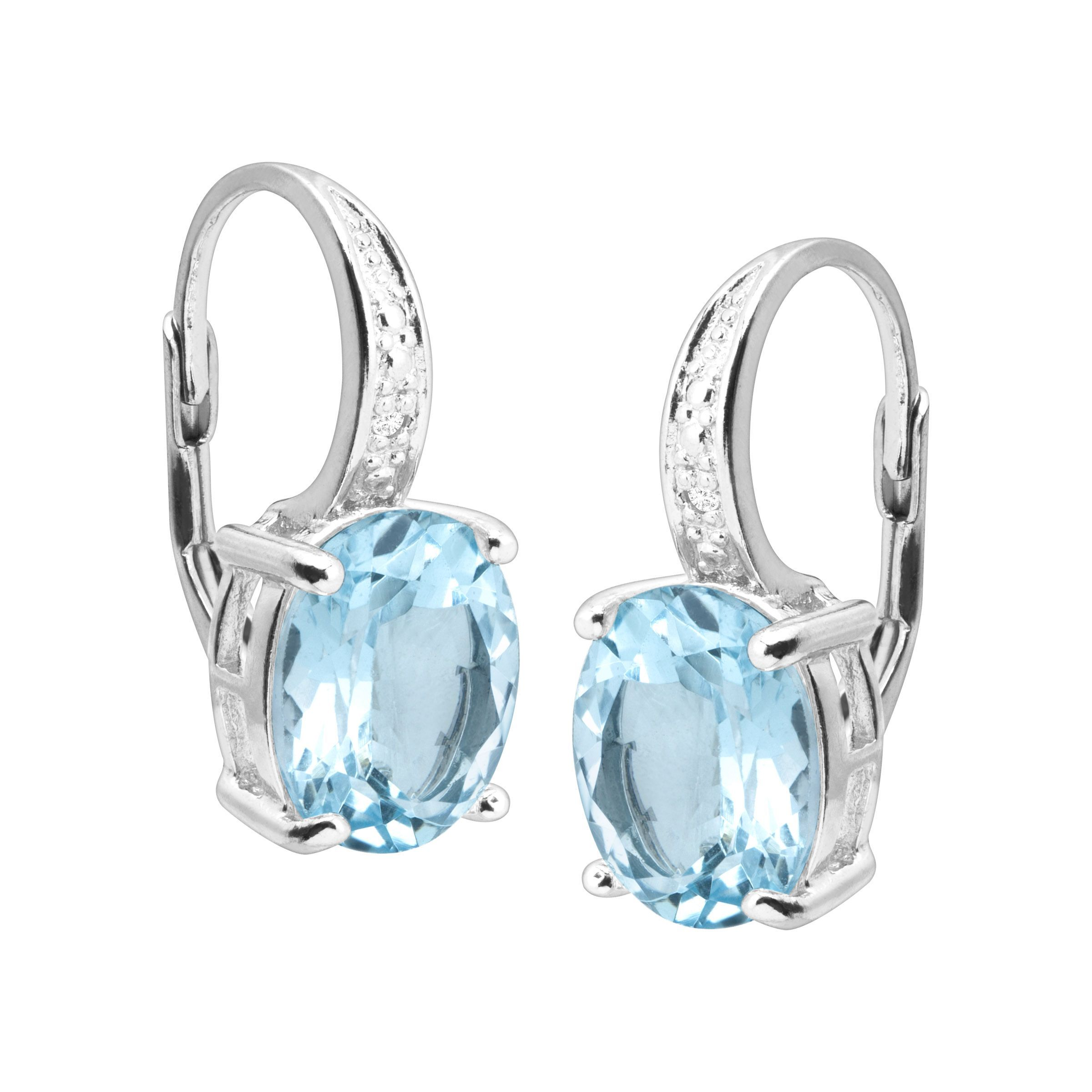 Natural-Gemstone-Drop-Earrings-with-Diamonds-in-Sterling-Silver thumbnail 12