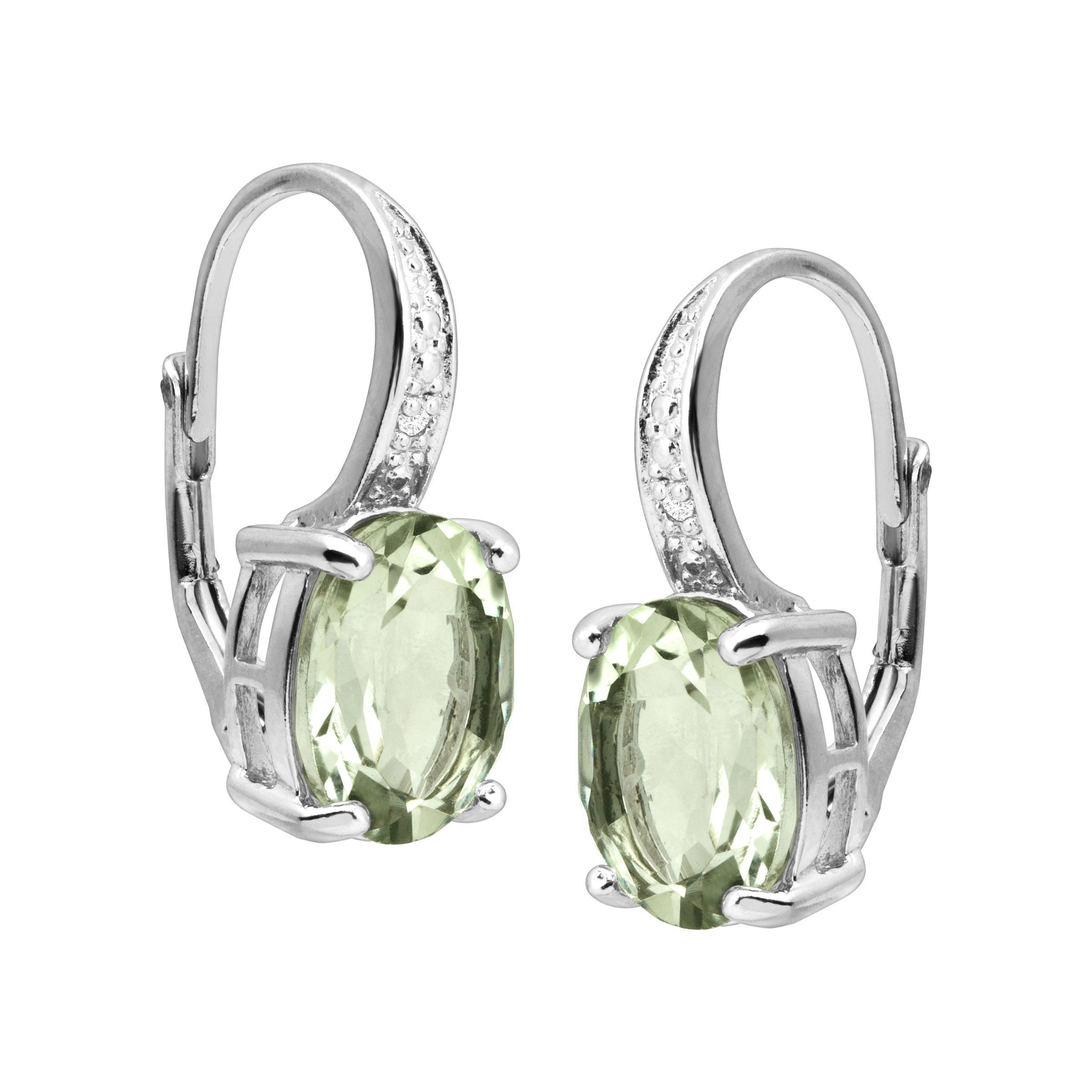 Natural-Gemstone-Drop-Earrings-with-Diamonds-in-Sterling-Silver thumbnail 30