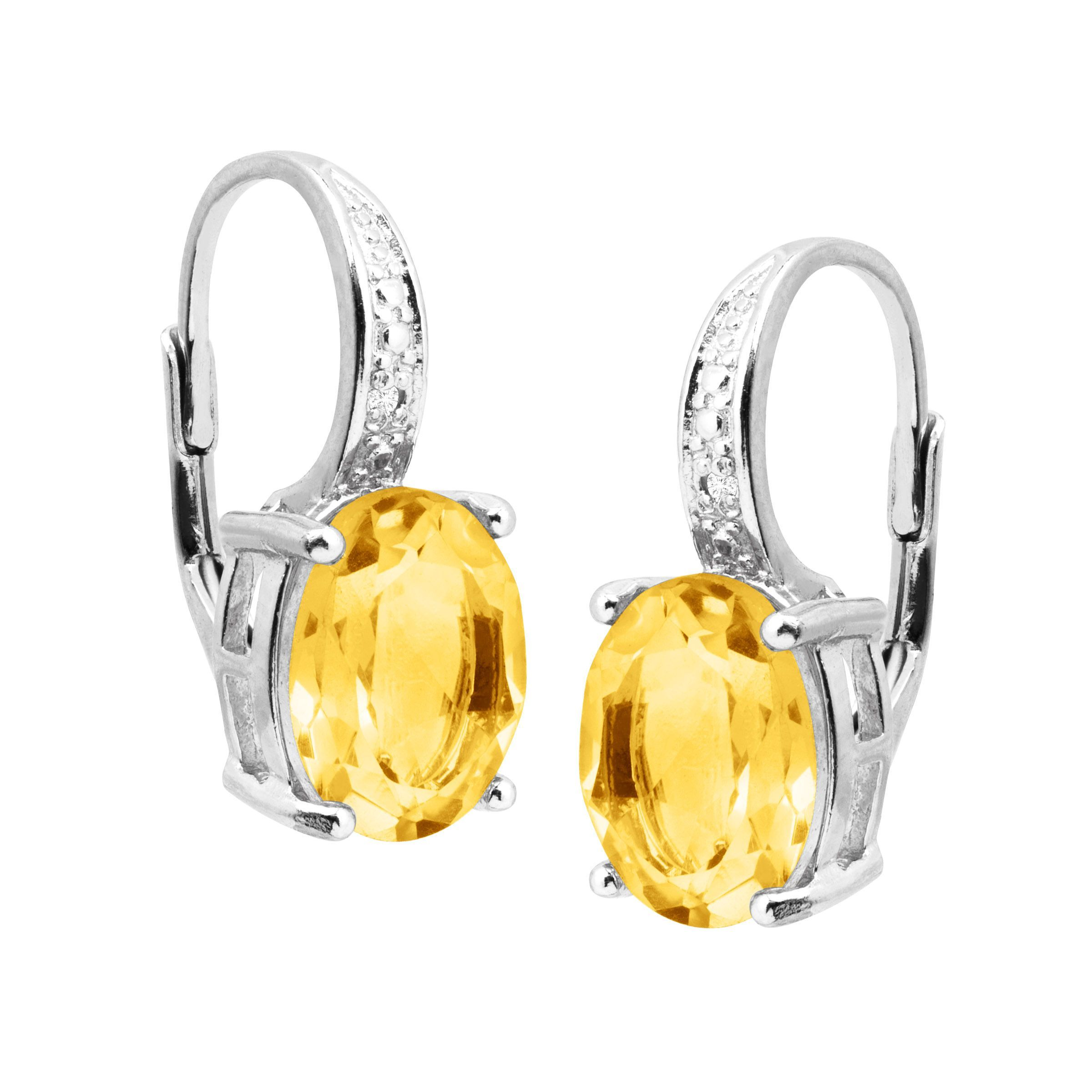 Natural-Gemstone-Drop-Earrings-with-Diamonds-in-Sterling-Silver thumbnail 18