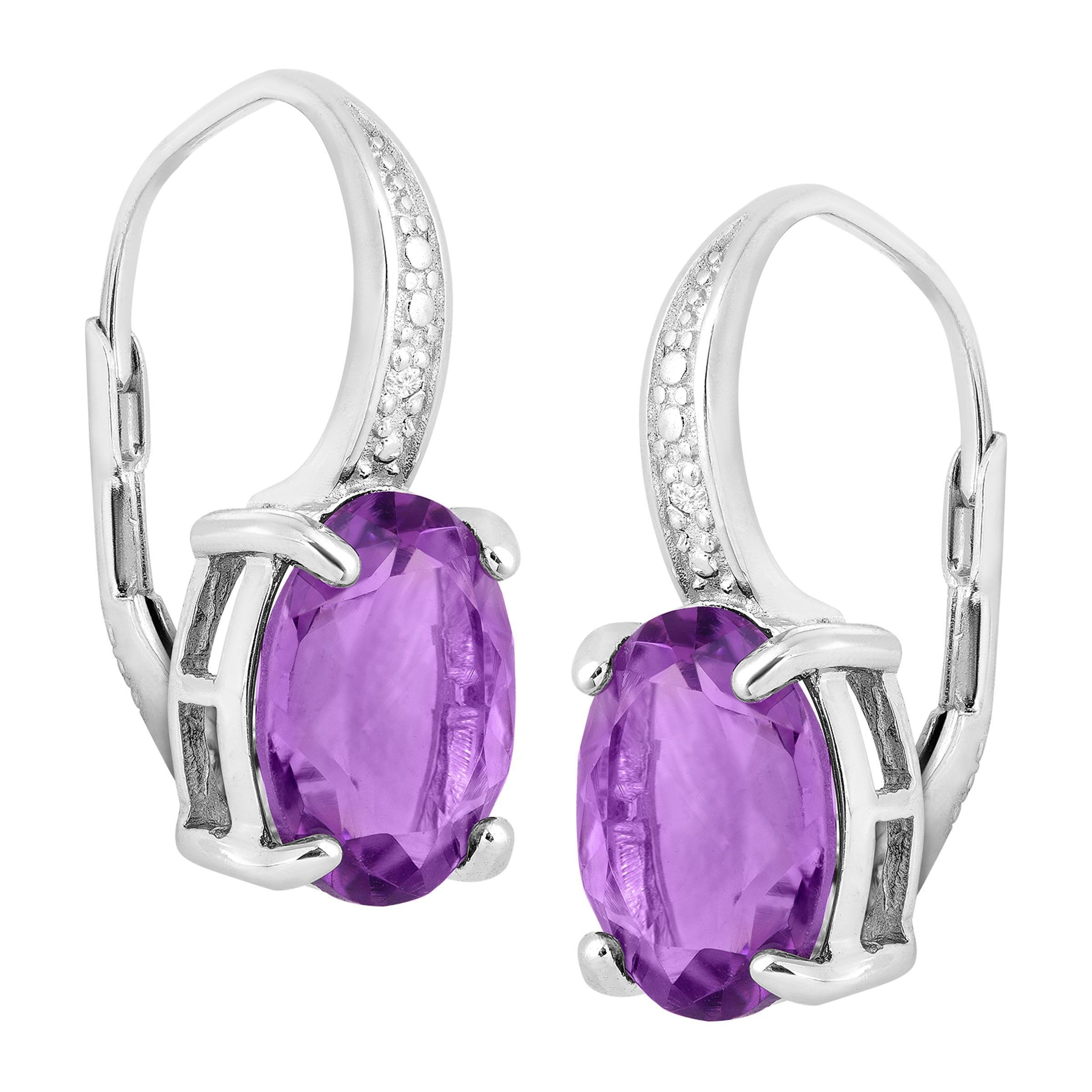 Natural-Gemstone-Drop-Earrings-with-Diamonds-in-Sterling-Silver thumbnail 7