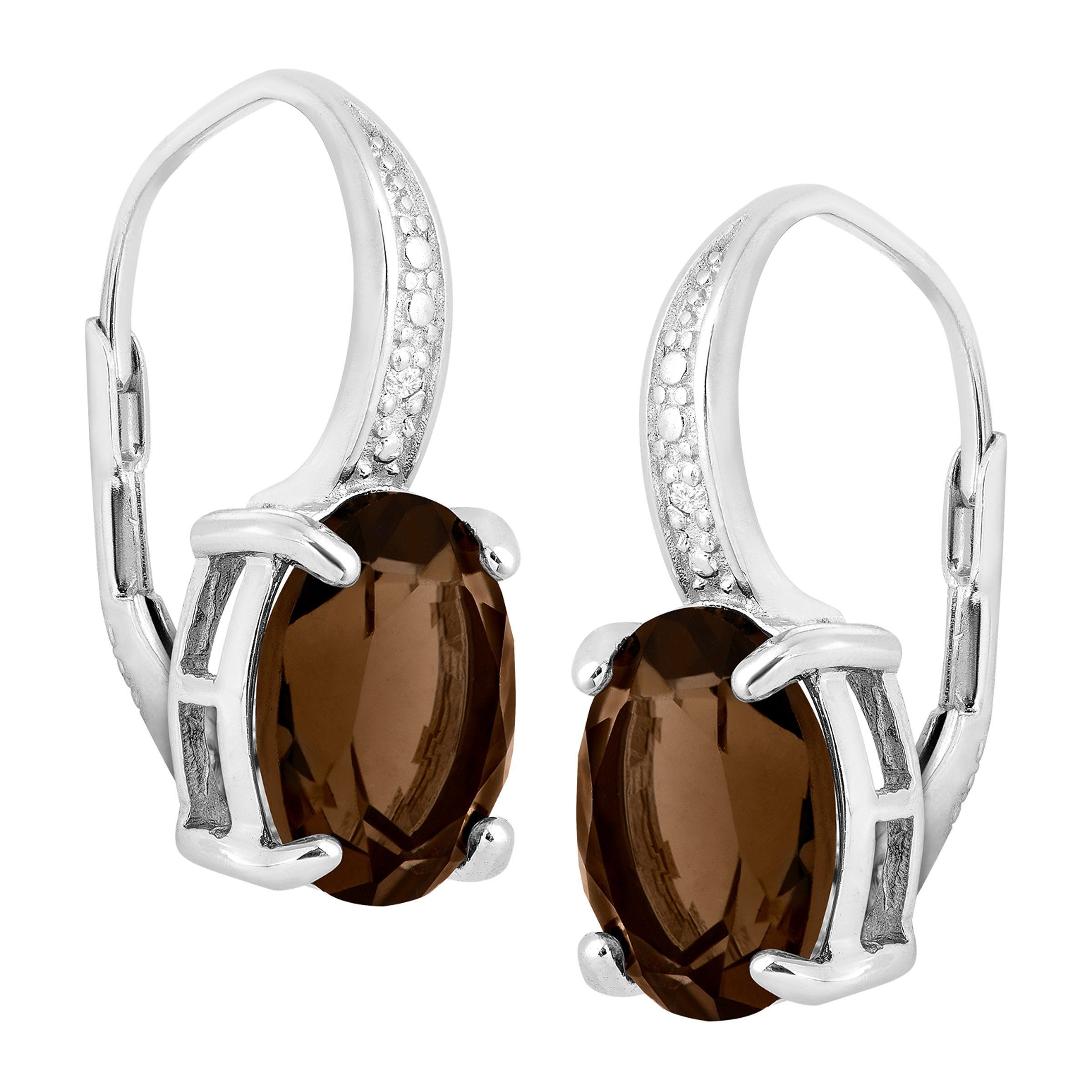 Natural-Gemstone-Drop-Earrings-with-Diamonds-in-Sterling-Silver thumbnail 36