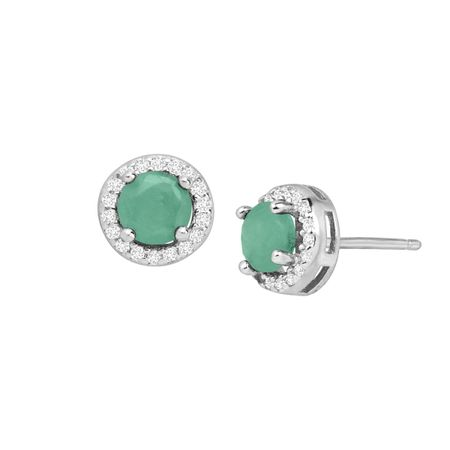 Emerald & White Topaz Halo Earrings