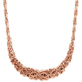 Graduated Byzantine Links Necklace, Rose