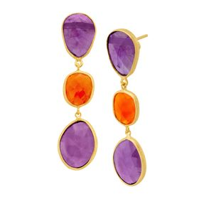 Amethyst & Carnelian Triple Drop Earrings