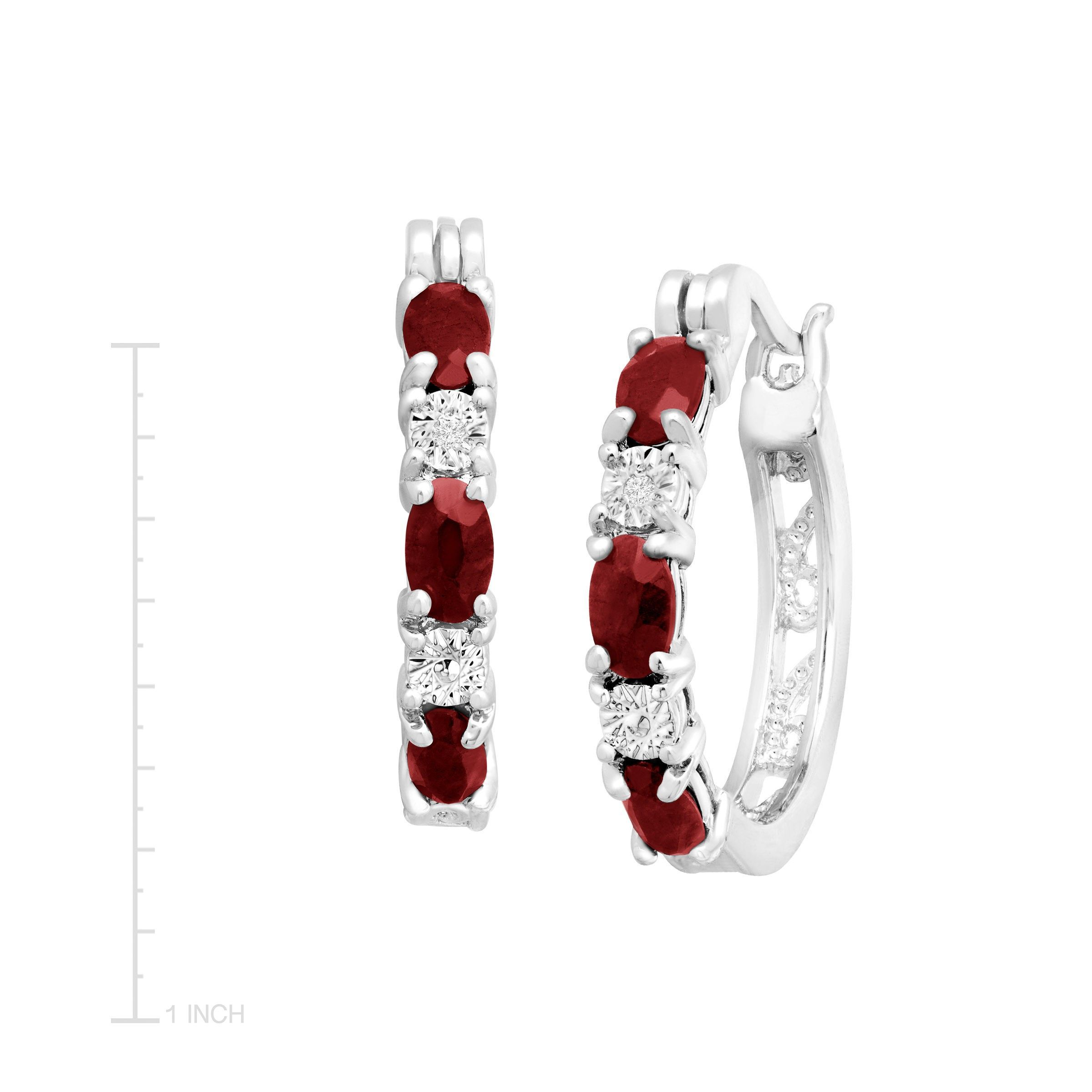Gemstone-Hoop-Earrings-with-Diamonds-in-Platinum-Plated-Brass thumbnail 29
