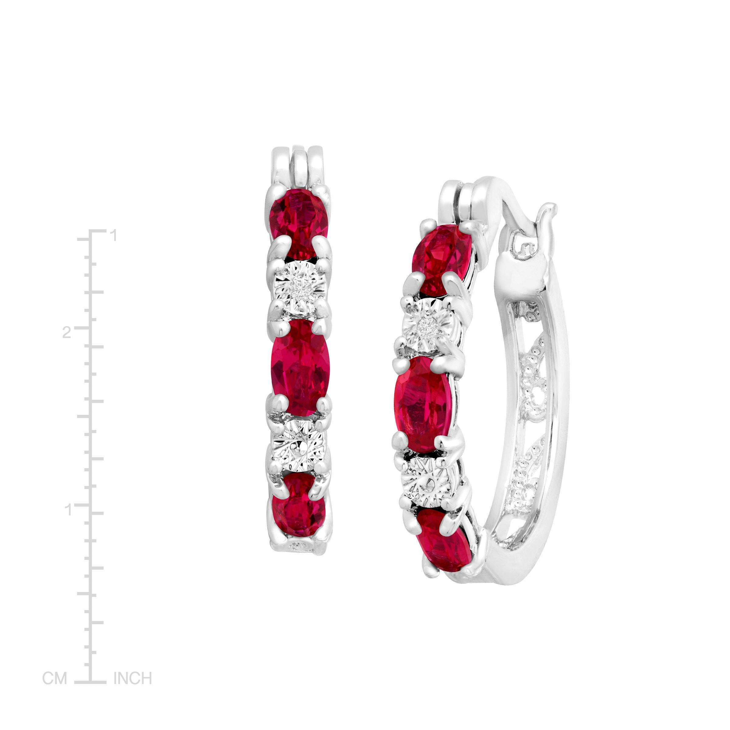 Gemstone-Hoop-Earrings-with-Diamonds-in-Platinum-Plated-Brass thumbnail 52
