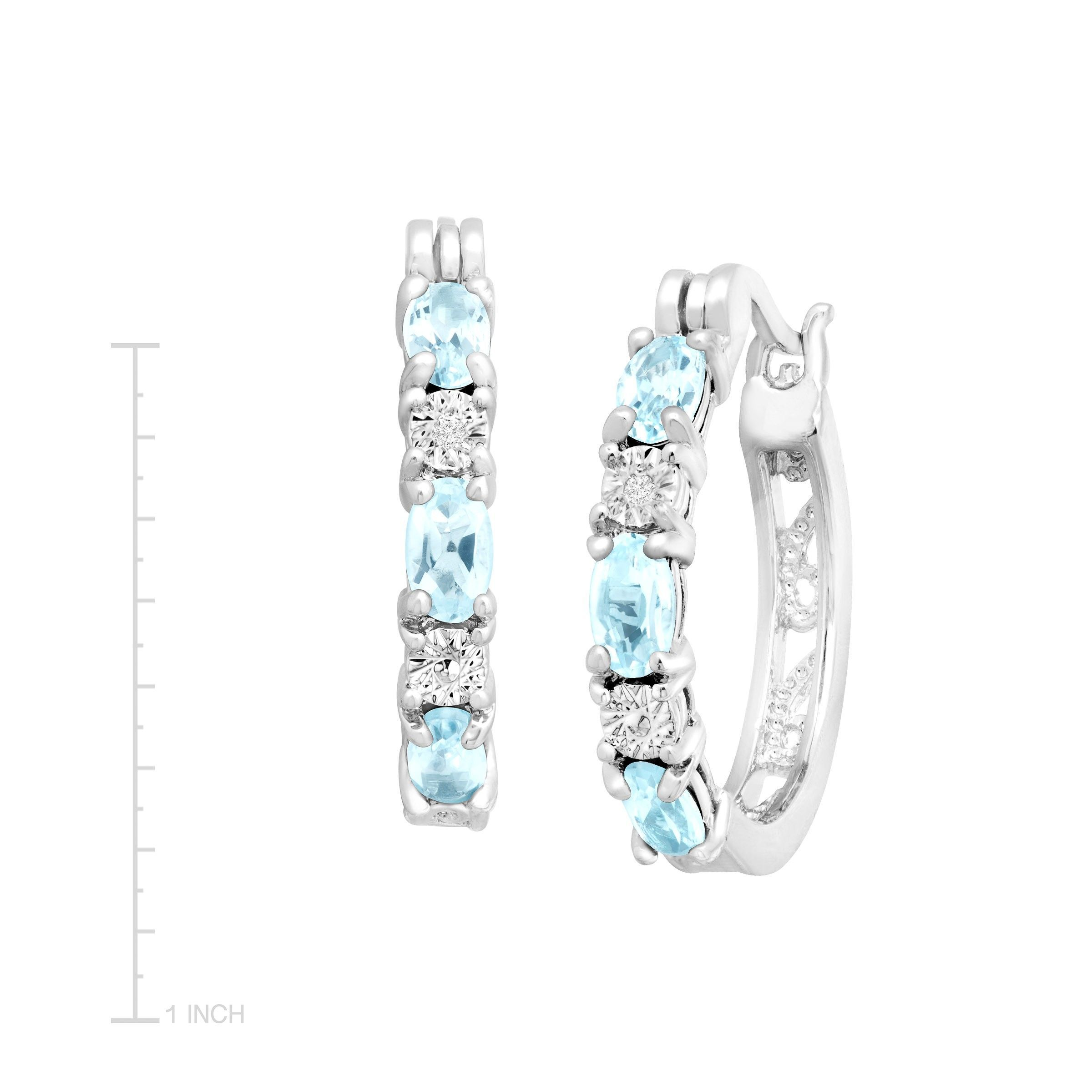 Gemstone-Hoop-Earrings-with-Diamonds-in-Platinum-Plated-Brass thumbnail 23