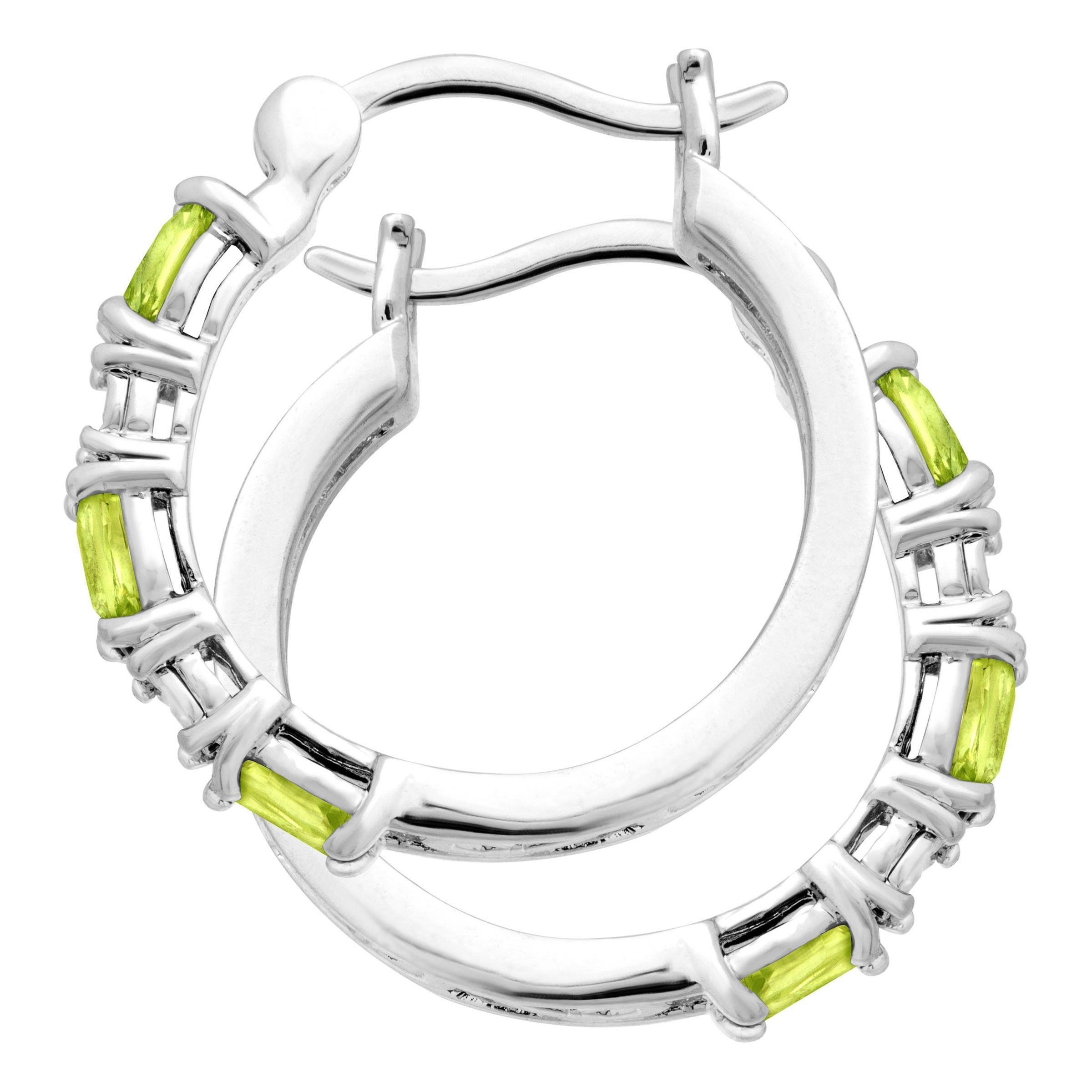 Gemstone-Hoop-Earrings-with-Diamonds-in-Platinum-Plated-Brass thumbnail 40