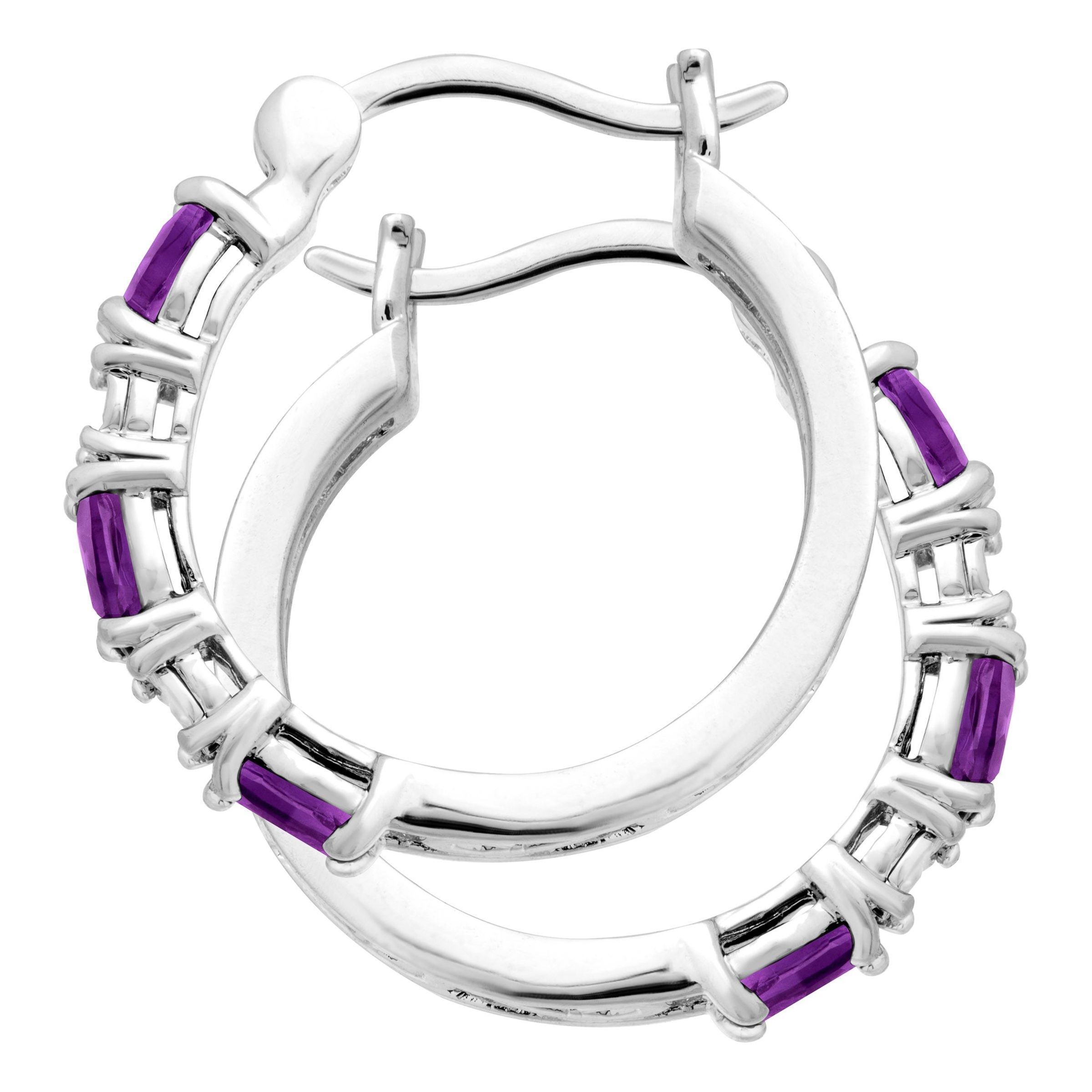 Gemstone-Hoop-Earrings-with-Diamonds-in-Platinum-Plated-Brass thumbnail 9