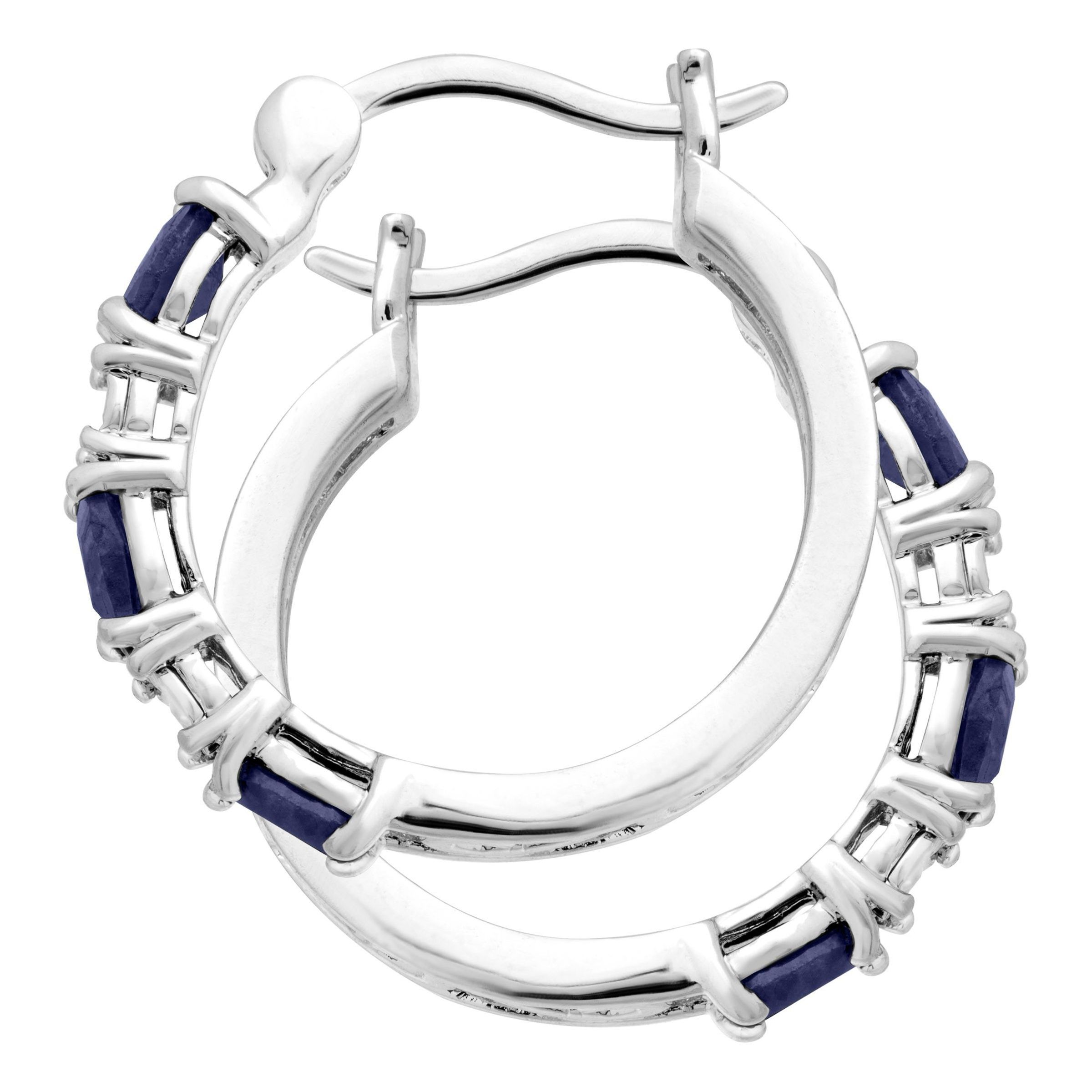 Gemstone-Hoop-Earrings-with-Diamonds-in-Platinum-Plated-Brass thumbnail 15