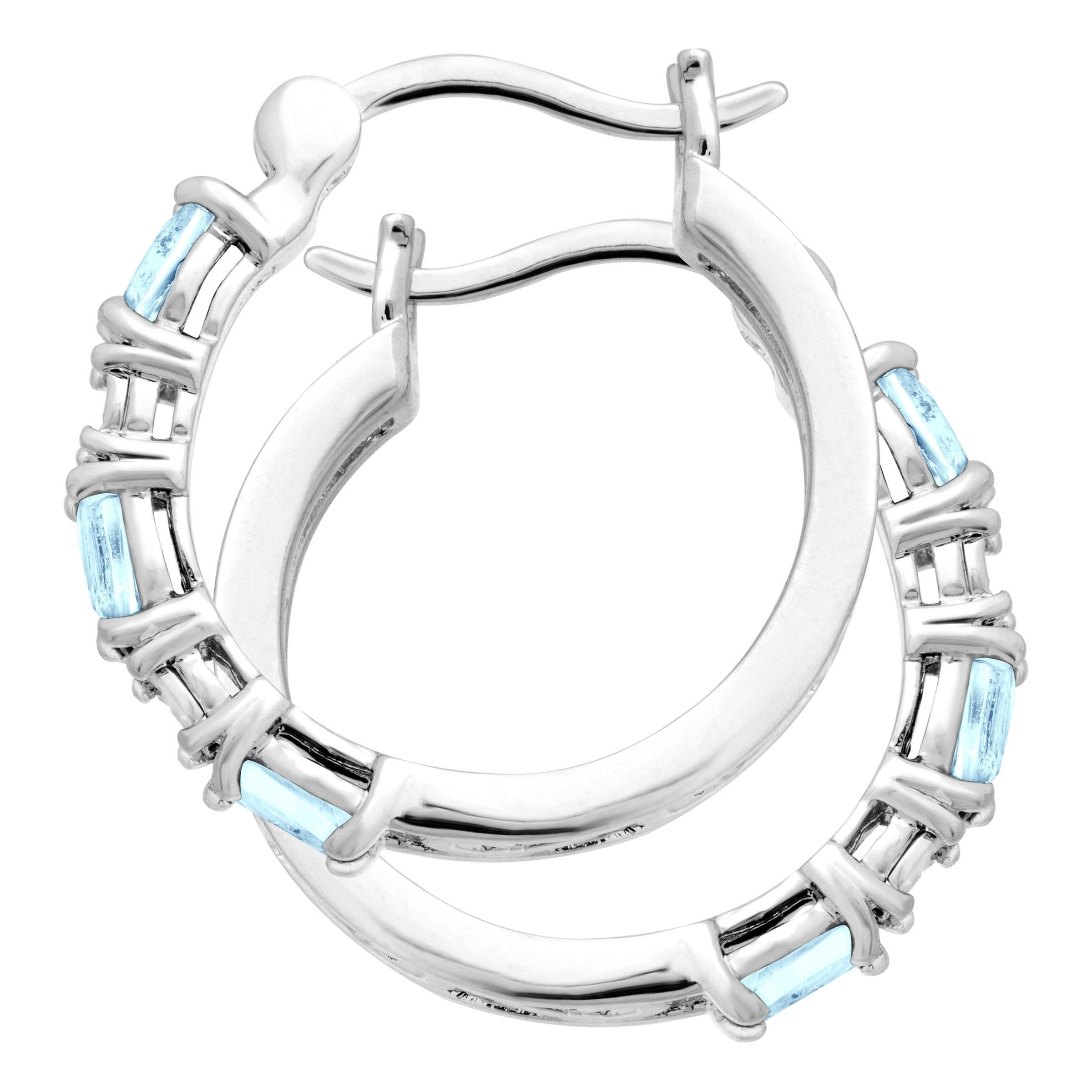 Gemstone-Hoop-Earrings-with-Diamonds-in-Platinum-Plated-Brass thumbnail 22