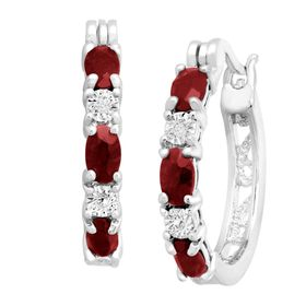 Garnet Hoop Earrings with Diamonds