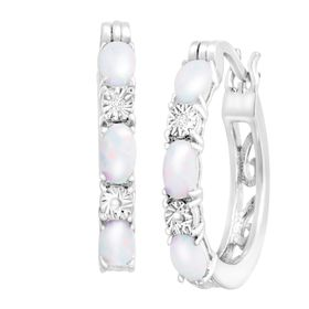 Opal Hoop Earrings with Diamonds