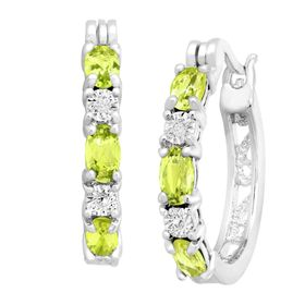 Peridot Hoop Earrings with Diamonds