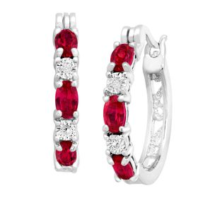 Ruby Hoop Earrings with Diamonds