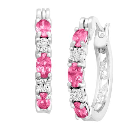 Pink Sapphire Hoop Earrings with Diamonds