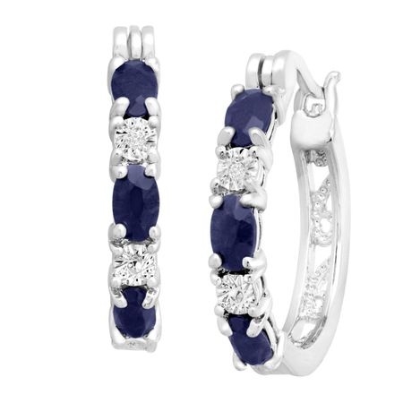 Blue Sapphire Hoop Earrings with Diamonds
