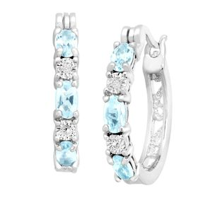 Blue Topaz Hoop Earrings with Diamonds