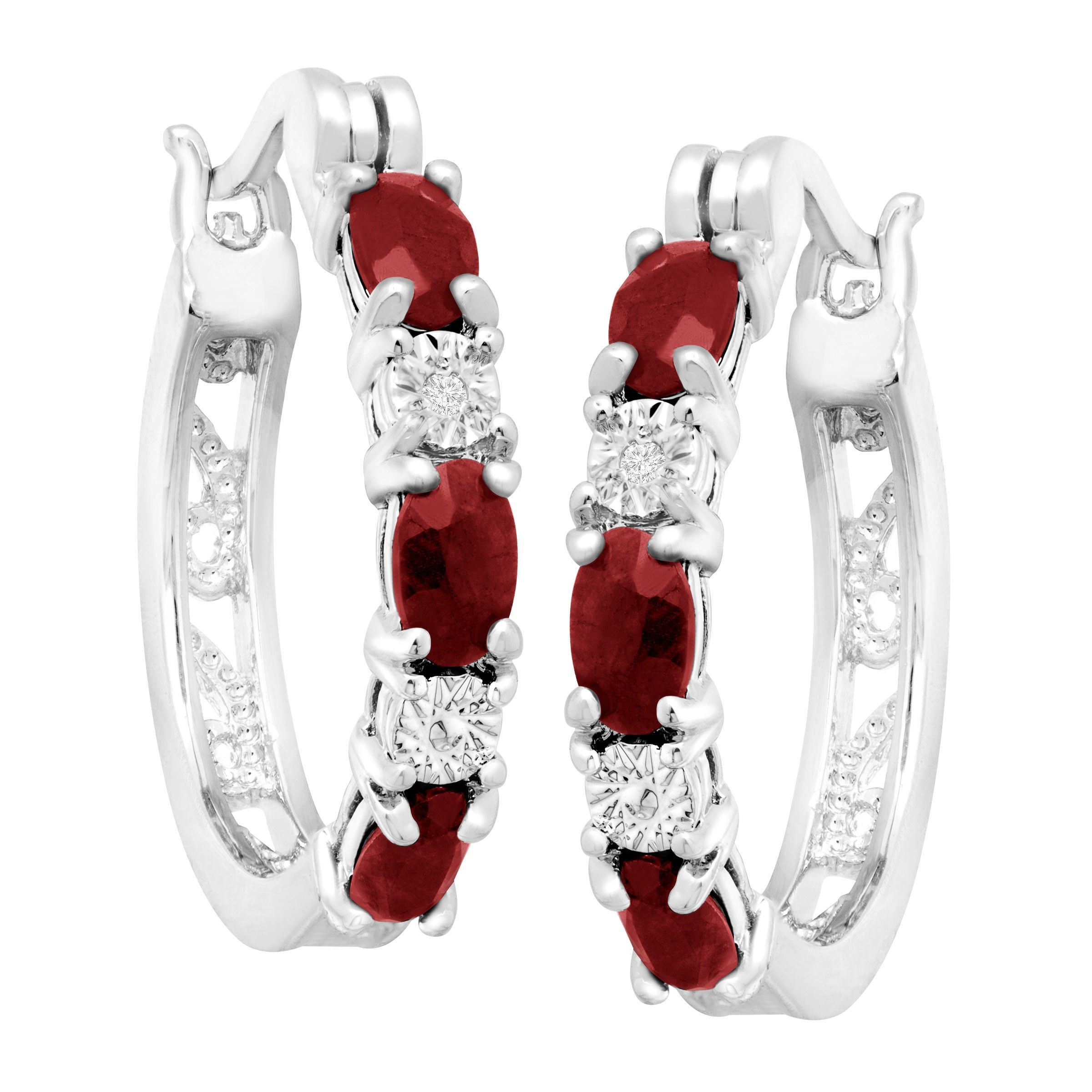 Gemstone-Hoop-Earrings-with-Diamonds-in-Platinum-Plated-Brass thumbnail 27
