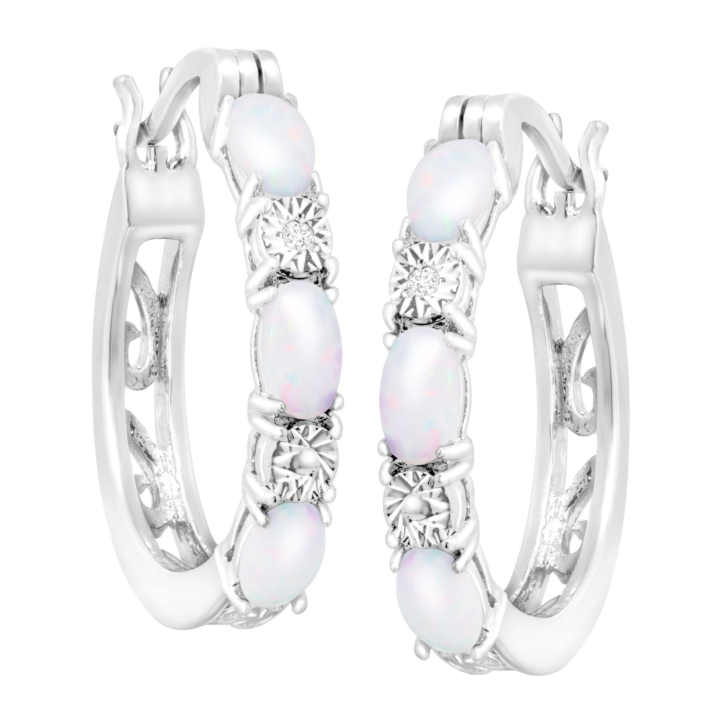 Gemstone-Hoop-Earrings-with-Diamonds-in-Platinum-Plated-Brass thumbnail 34