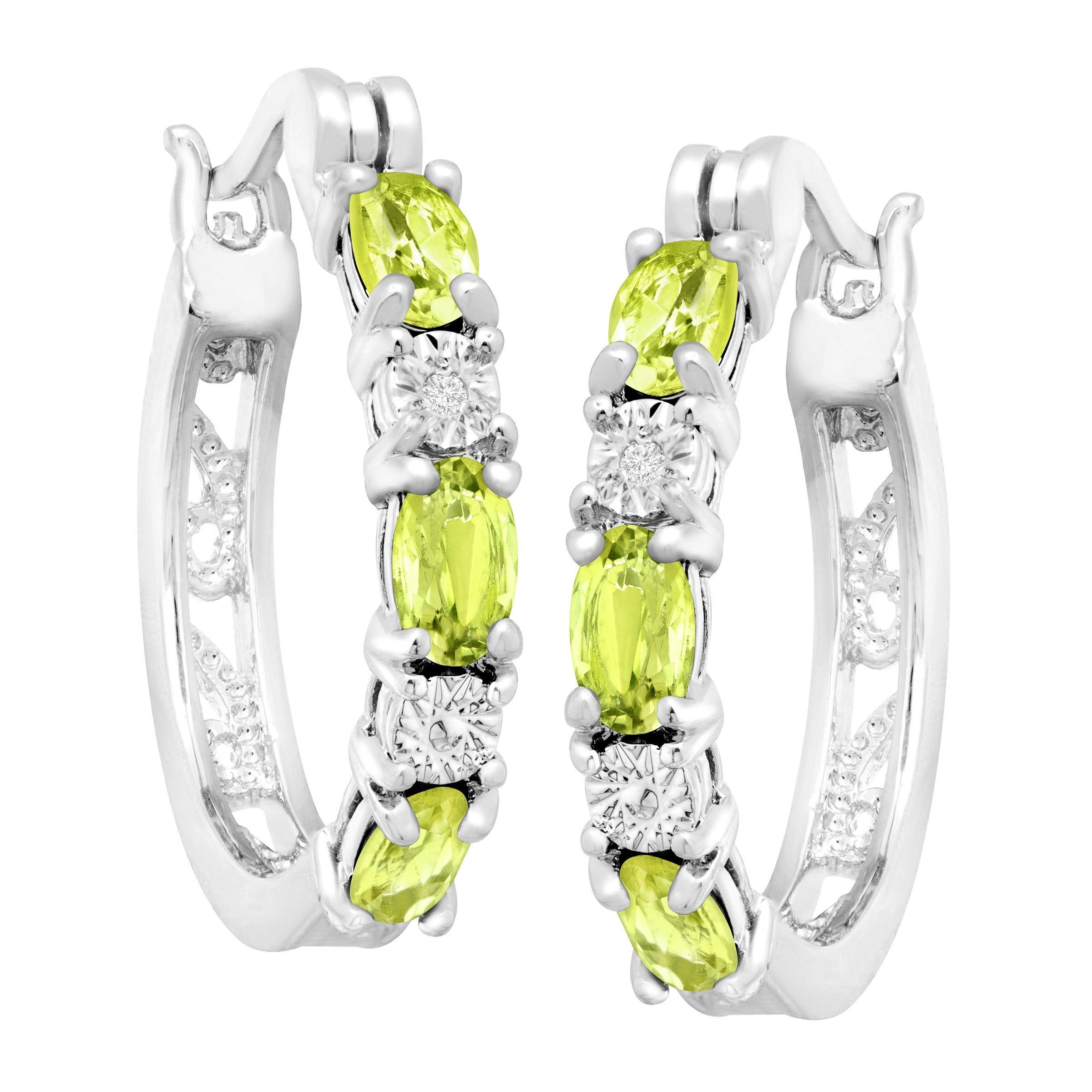 Gemstone-Hoop-Earrings-with-Diamonds-in-Platinum-Plated-Brass thumbnail 39
