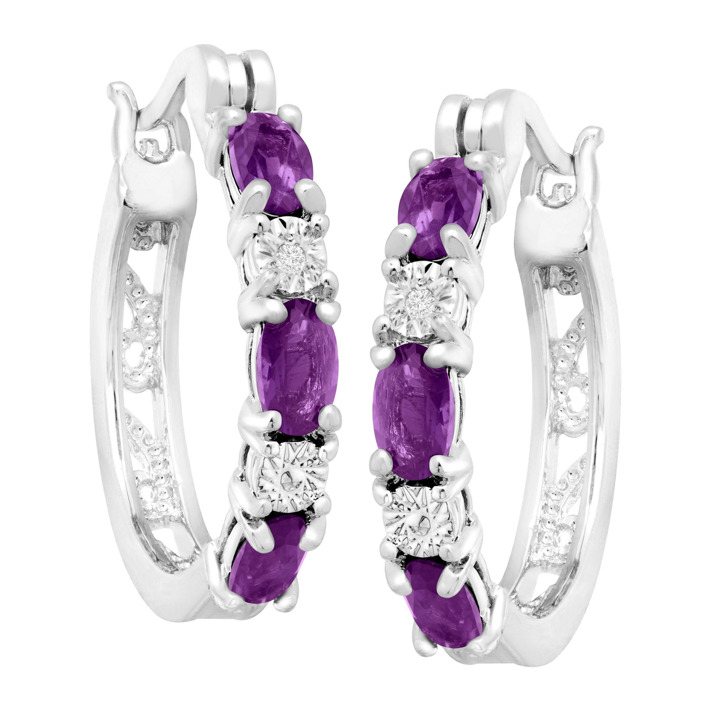 Gemstone-Hoop-Earrings-with-Diamonds-in-Platinum-Plated-Brass thumbnail 8