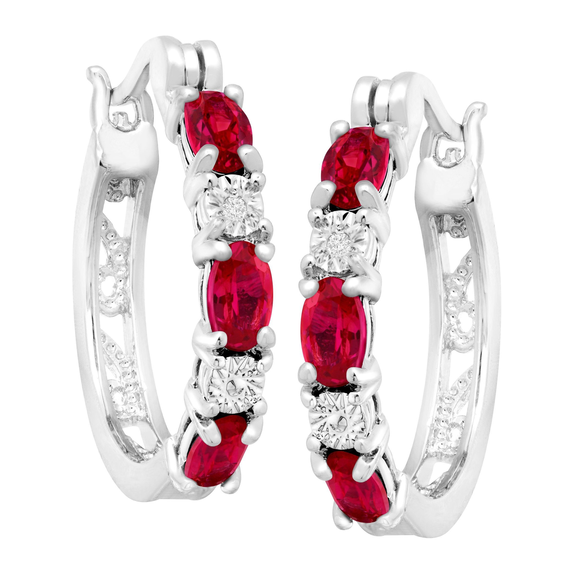 Gemstone-Hoop-Earrings-with-Diamonds-in-Platinum-Plated-Brass thumbnail 50