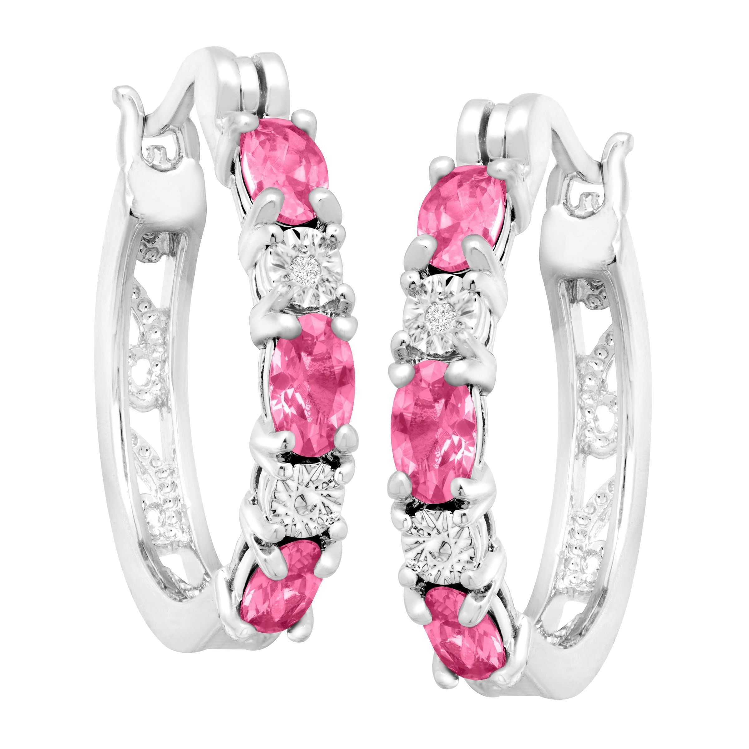 Gemstone-Hoop-Earrings-with-Diamonds-in-Platinum-Plated-Brass thumbnail 45