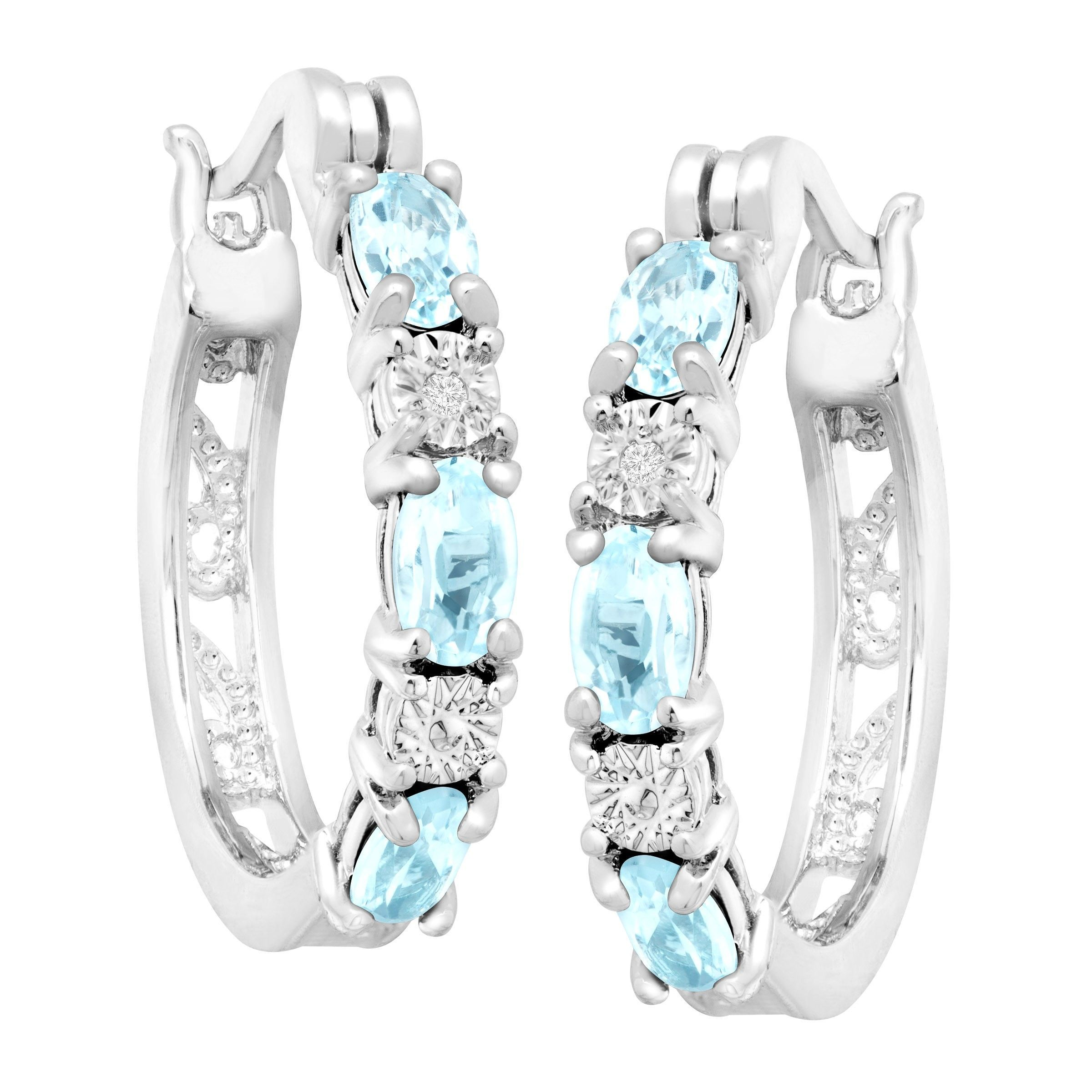Gemstone-Hoop-Earrings-with-Diamonds-in-Platinum-Plated-Brass thumbnail 21