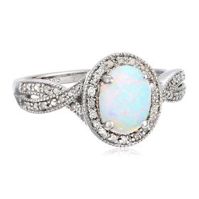 White Opal & 1/10 ct Diamond Ring