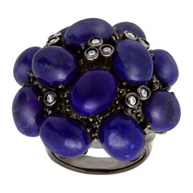 Lapis & Cubic Zirconia Bouquet Ring