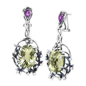 Green Amethyst Iris Blossom Earrings