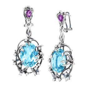 Swiss Blue Topaz Iris Blossom Earrings