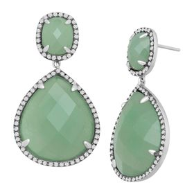 Aventurine & Cubic Zirconia Drop Earrings