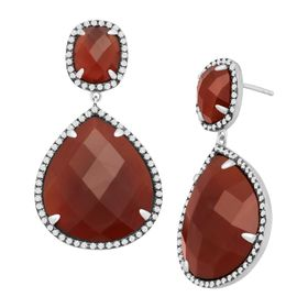 Carnelian & Cubic Zirconia Drop Earrings