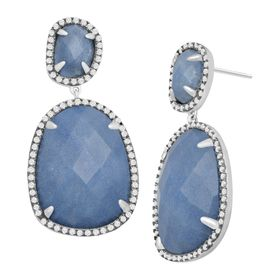 Blue Quartz & Cubic Zirconia Drop Earrings