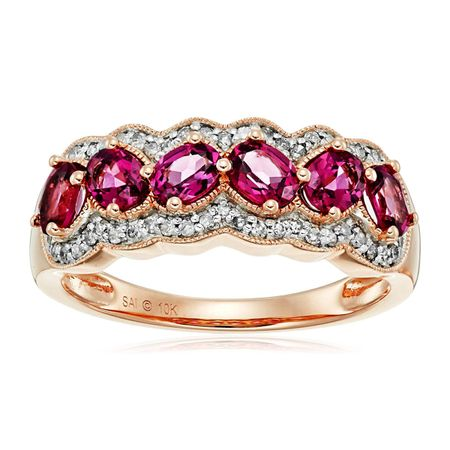 Rhodolite Garnet & 1/5 ct Diamond Ring