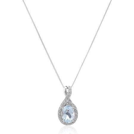 Oval Aquamarine & 1/10 ct Diamond Pendant